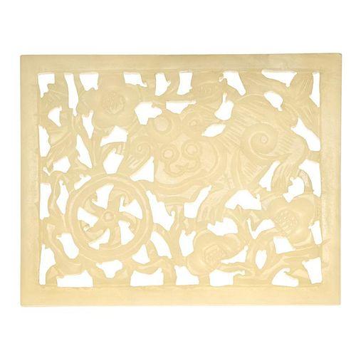 Carved White Jade Plaque