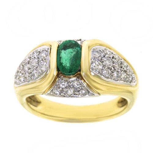 Emerald & Diamond Ring, 14k