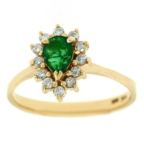 Emerald and Diamond Ring, 14k