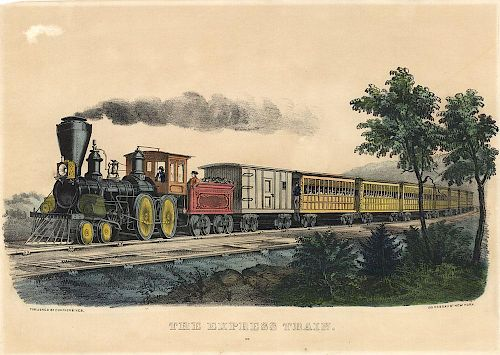 The Express Train - Original Currier & Ives Lithograph.