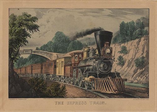 The Express Train - Original Small Folio Currier & Ives Lithograph.