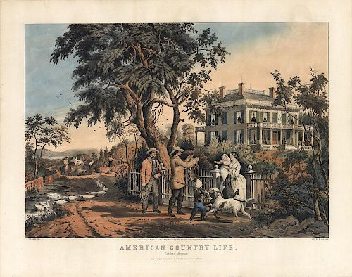"""American Country Life """"October"""" - Original Large Folio Currier & Ives Lithograph."""