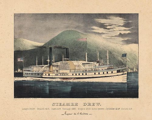 Steamer Drew - Original Small Folio Currier & Ives Lithograph