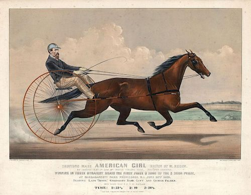 Trotting Mare American Girl - Original Large Folio  Currier & Ives Lithograph.