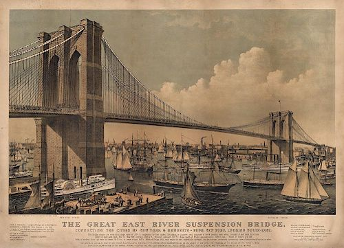 The Great East River Suspension Bridge (Brooklyn Bridge) - Original Currier & Ives Lithograph.