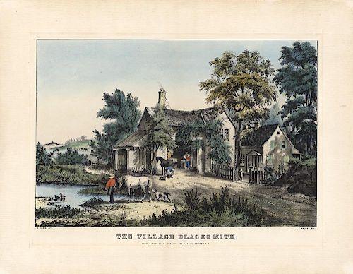 The Village Blacksmith - Original Currier & Ives Lithograph.