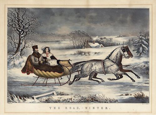 The Road, - Winter - Original Large Folio Currier & Ives Lithograph