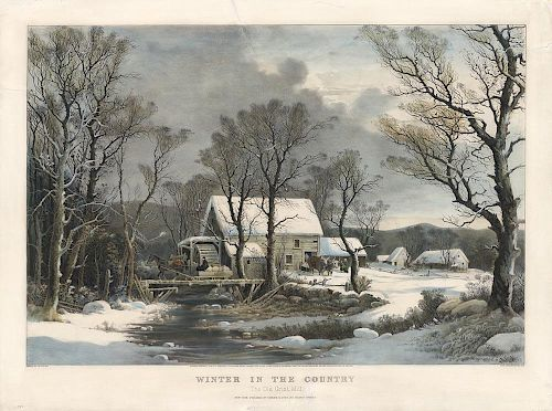 The Old Grist Mill - Original Large Folio Currier & Ives Lithograph