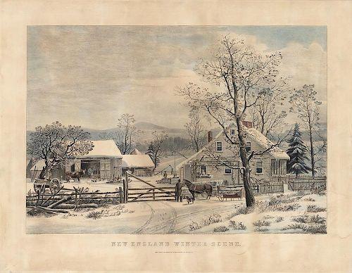 New England Winter Scene - Original Large Folio Currier & Ives Litho.