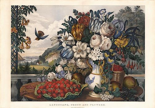 Landscape, Fruit and Flowers - Original Large Folio Currier & Ives Lithograph