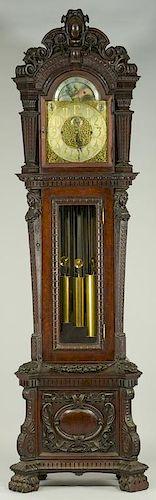 Tiffany Tall Case Clock w/ Carved Oak Case
