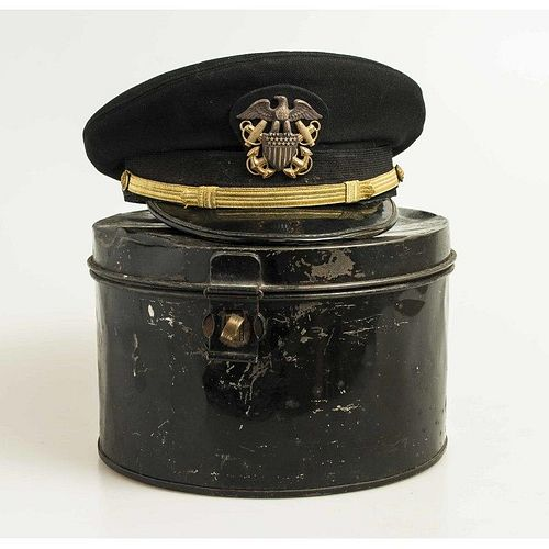 WWII U.S. Navy Officer's Blue Dress Cap in Tin Box