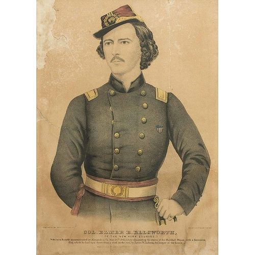 Colored Lithograph of Colonel Elmer Ellsworth