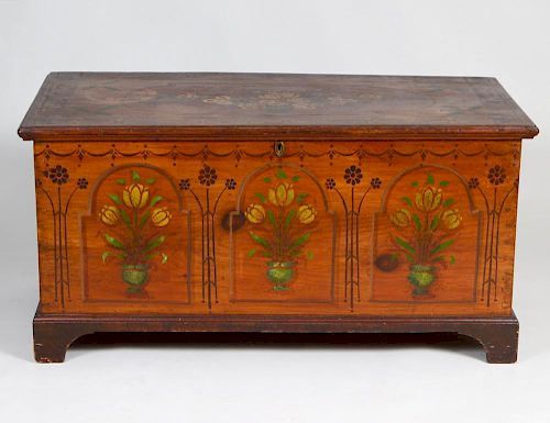THE KAUFMAN FAMILY PAINTED PINE MARRIAGE CHEST