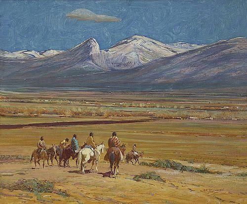 Oscar Edmund Berninghaus 1874 - 1952 ANA, TSA | First Snow on Taos Mountain