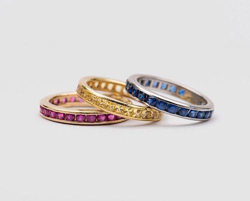 Three Gemset Eternity Bands