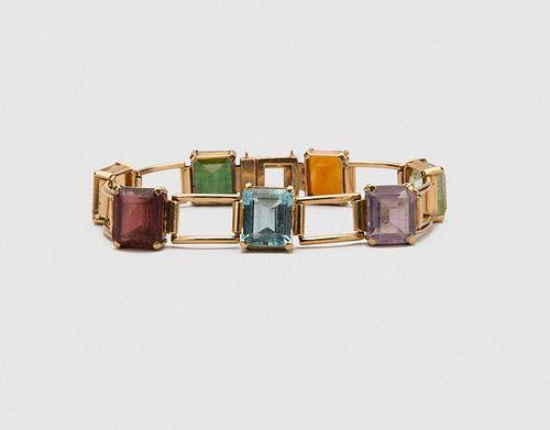 14K Yellow Gold and Gemset Bracelet