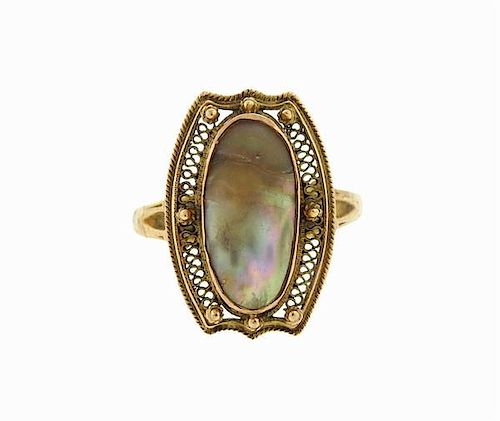 Antique 10K Gold Abalone Ring