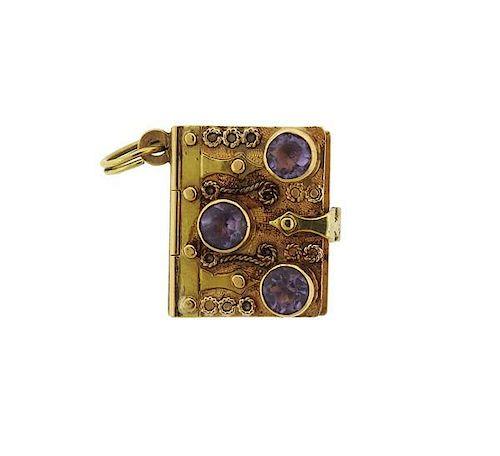 Italian 18K Gold Purple Stone Book Locket Charm