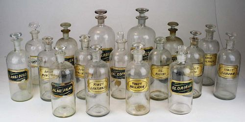 16 Apothecary Bottles W/ Labels Under Glass