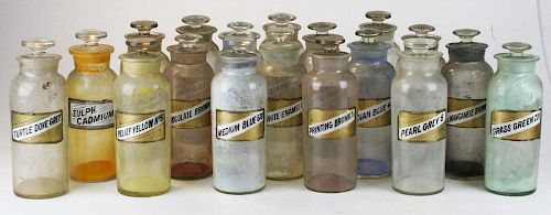 37 Apothecary Paint Pigment Jars W/ Labels Under Glass