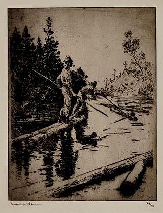 Frank W. Benson (1862-1951) River Drifters
