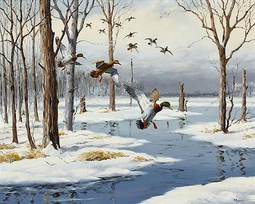 David A. Maass (b. 1929) Mallards in Snow