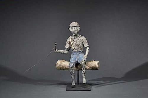 Cast Metal Fisherman Waiting For a Bite