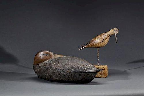 Preening Black Duck and Shorebird David B. Ward (b. 1947)