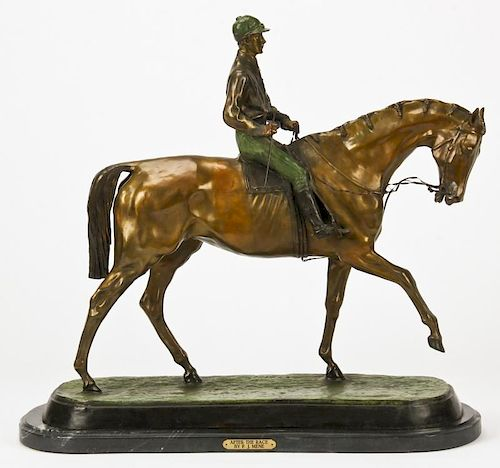 After Pierre Jules Mene (1810-1879) Bronze Horse and Rider