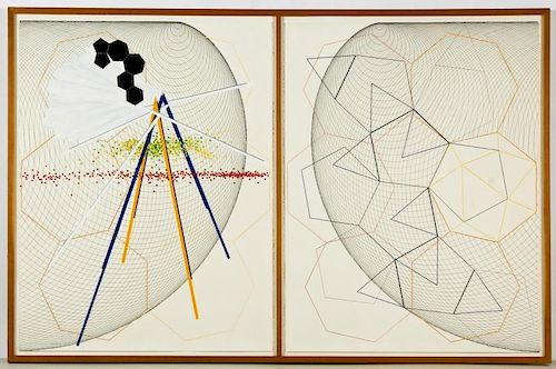 Unknown Artist (20th c.) 2 Part Abstract Work on Paper