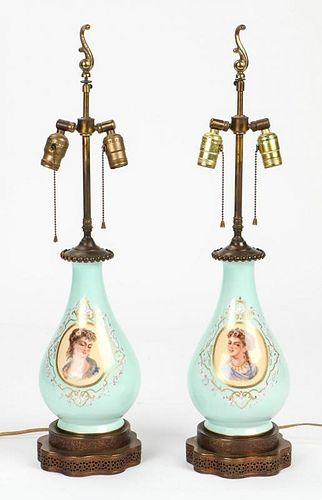 Pair Old Paris Portrait Lamps