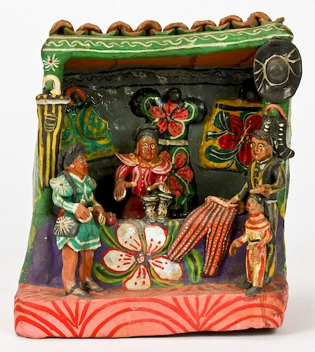 Vintage Ocumicho Market Clothing Vendor Figural Group