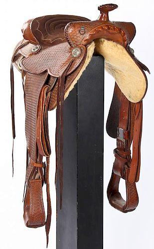 Custom Tooled Leather Western Saddle