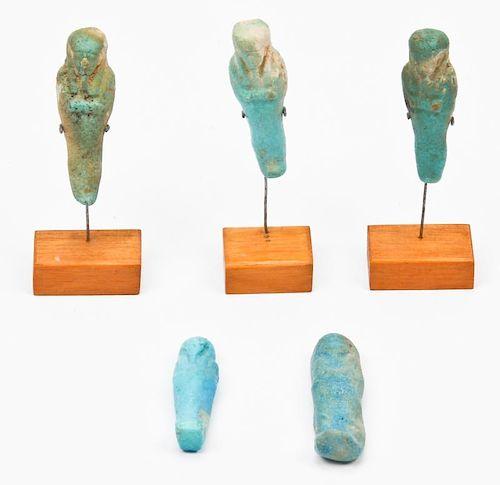 5 Egyptian Faience Ushabti Figures