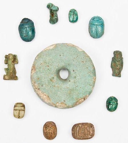 11 Egyptian Faience Artifacts