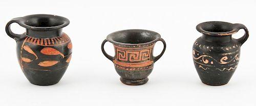 3 Apulian Blackware Vessels