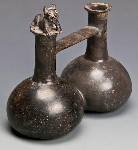 Pre Columbian Blackware Whistle Pot