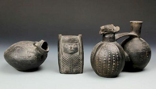 3 Pre Columbian Chimu Blackware Artifacts