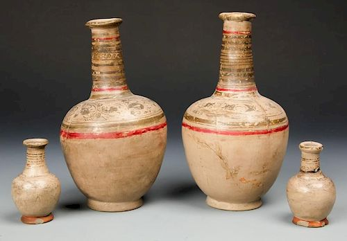 4 Pre Columbian Earthenware Bottles