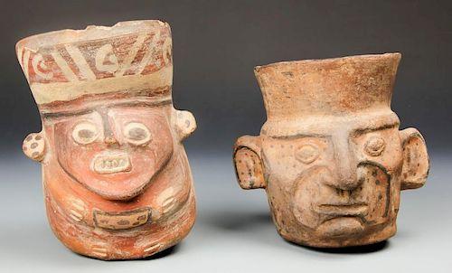 2 Pre Columbian Figural Libation Vessels