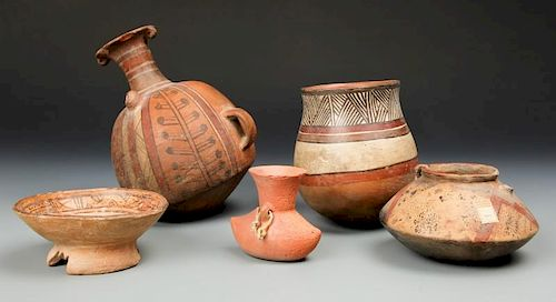Collection o 5 Pre Columbian Pottery Vessels