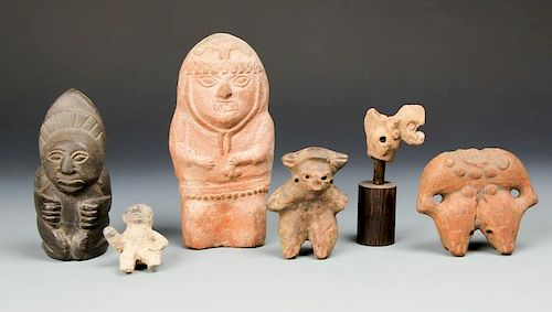 Collection of 6 Pre Columbian Figural Artifacts