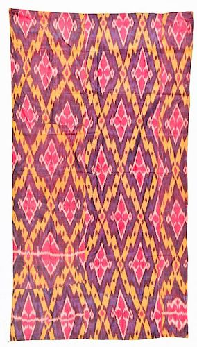 19th C. Uzbek All Silk Ikat Panel