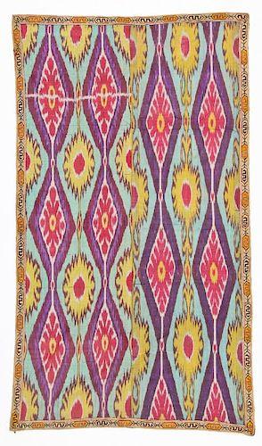 19th C. Central Asian Uzbek Silk Adras Ikat Panel