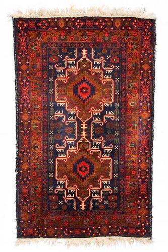 Semi-Antique Beluch Rug: 3'2'' x 5'2'' (97 x 157 cm)