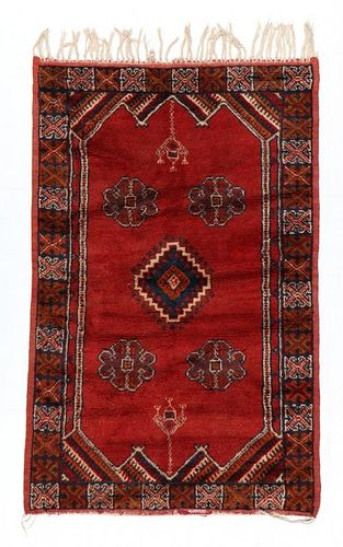 Vintage Moroccan Rug: 3'4'' x 5'1'' (102 x 155 cm)