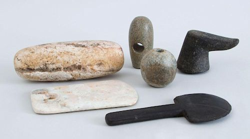 COLLECTION OF SIX ASSORTED STONE TOOLS, AXE AND MACE HEADS