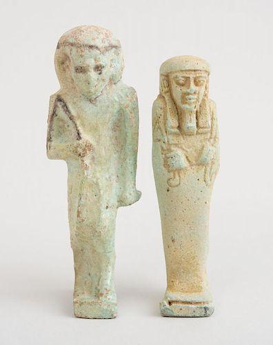 TWO EGYPTIAN FAIENCE USHABTIU