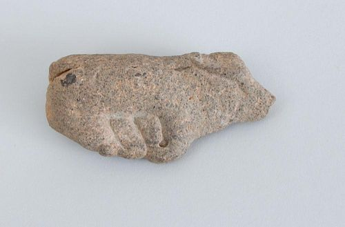 CARVED STONE MODEL OF A SEATED BULL, AFTER THE ANTIQUE